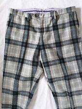 TOMMY HILFIGER University slim gray black tartan plaid wool trousers pants 34x31