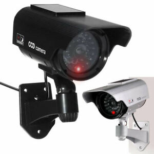 Dummy Security Camera Solar Powered CCTV Surveillance Bullet Cam Fake IR LED UK