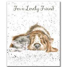 Wrendale Perro & Gato tarjeta de saludos para un amigo encantadora por Hannah Dale en el Reino Unido