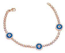 Sterling Silver 925 CZ Turkish Nazaar Blue Evil Eye Bracelet Rose Gold