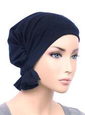 Abbey Cap ® Chemo Hat Cancer Beanie Scarf Cotton Navy Blue
