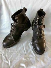 DAYTON MENS BLACK LEATHER & SUEDE MOTORCYCLE BOOTS Sz 10 1/2 E