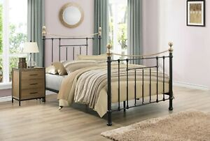 Victorian Inspired Metal Frame Bronte Bed By Birlea Available In Cream Or Black