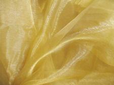 A32 (Per Meter) Tan Gold Crystal Mirror Organza Darpping Sheer Fabric Material
