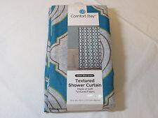New Comfort Bay Textured Shower Curtain Aileen Blue Green Soft Textured Fabric