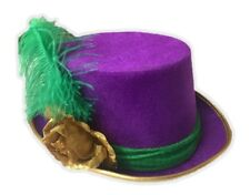 Purple Velvet Mardi Gras Top Hat with Green Feathers Costume Party Accessory 645c2f455fda