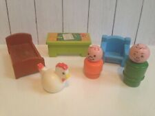 lot Vintage Little People Desk bed chair chicken wooden figure house furniture