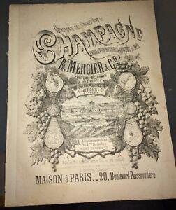 COMPAGNIE DES GRANDS VINS DE CHAMPAGNE. MERCIER. PARTITION FIN XIXéme.