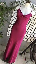 LAZARO #3483 Magenta Charmeuse A-Line Gown Formal Bridesmaid Dress Sz 12