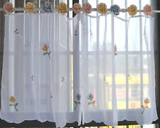 Pair Beautiful 3D Rose Embroidery Chic Tape Sheer Cafe Curtain