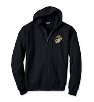 US Marine Logo Military EMBROIDERED Black Zip Hoodie Sweatshirt New
