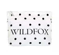 WILDFOX Signature White Polka Dot Canvas Zip Clutch Cosmetic Pouch Bag, NWT! $48