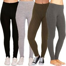 Womens Ladies Plain Warm Thick Chunky Cable Ribbed Knitted Leggings UK Size 8-26