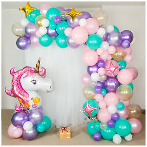 Foil Stars Balloons Birthday Party Supplies for Kids Lady Girls Crown Happy Birthday Banner AYUQI Unicorn Party Decorations Agate Balloons with DIY Cake Topper 3D Unicorn Balloon
