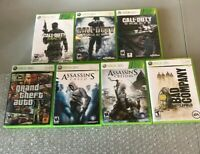 MOSTLY CIB XBOX 360 VIDEO GAME LOT COD GHOST, MW3,GTA IV,ASSASSINS CREED 1 & 3