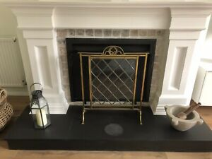 Stunning Solid Antique Brass Original Leaded Glass Fire Guard