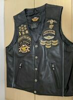 Vtg Woman's Harley-Davidson Leather Vest 100 Anniversary SZ Large_Pins/Patches