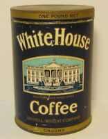 Old Vintage 1930s WHITE HOUSE GRAPHIC COFFEE TIN ONE POUND PORTSMOUTH VIRGINIA