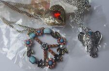 lot 3 Necklace Pendants Peace Sign Winged Heart Elephant