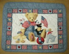 Vintage Blue Jean Teddy Bear Quilt Blanket Comforter Crib Americana Made in Usa