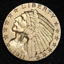 1911-S Gold $5 Dollar Half Eagle CHOICE AU FREE SHIPPING E358 ELM