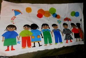 1977 International Printworks Fabric Wallhanging Vintage Mid Century  children