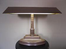Vintage Mid Century Brown Metal Enamel Drafting Industrial Era Desk Lamp