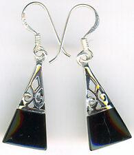 """925 Sterling Silver Black Onyx Drop / Dangle Triangle Earrings  L35mm 1.3/8"""""""