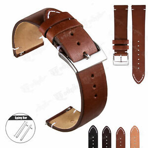 Vintage Hand-Stitched Leather Watch Band Wrist Strap Quick  Release 18 20 22mm
