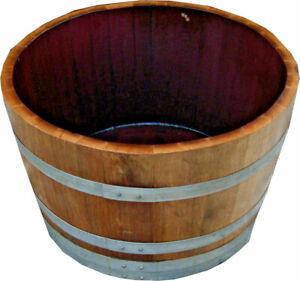 Holzfaß,Weinfaß,Faß halbiert,Eichenfaß Miniteich Pflanzkübel,halbes Faß, 25-100L