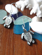 MOTHER of PEARL CARVED TURTLES & PEARLS STERLING SILVER EARRINGS STUNNING STYLE