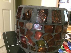 """HOME DECORATIVE 4""""  CANDLE HOLDER CRACKED GLASS DESIGN  RUST & BLACK VASE"""