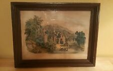 "Antique Currier & Ives ""The Old Ruins"" Hand-Colored Lithograph Original Frame"