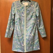 Women's Doncaster Cotton spring summer Blues Greens zip Long jacket  Sz 8
