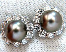 8.5mm natural tahitian pearls 1.80ct diamonds cluster earrings 14kt g/vs+