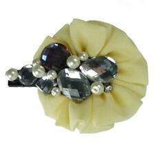 Barrette Pince Cheveux crocodile tissu jaune pâle rétro strass perles nacrées