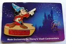 Disney Pin Badge The Rewards are Magic Charter Cardmember Sorcerer Mickey