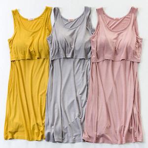 Maternity Dress Nursing Breastfeeding Modal Removable Molded Cup 6 8 10 12 14
