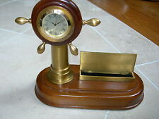 Maitland Smith Antique Oceania Finished Desk Clock and Business Card Holder