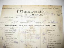 Vintage 1925 Fiat 501 Itemised Garage Receipt From Fiat of Wembley