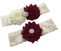 Burgundy wedding garter for bride from small to plus size ivory bridal garter