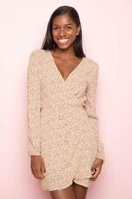 New! Brandy Melville yellow floral long sleeve v neck Laura wrap dress NWT sz S