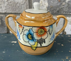 ART DECO  LUSTERWARE Hand Painted Floral Made in Japan Covered Sugar Bowl