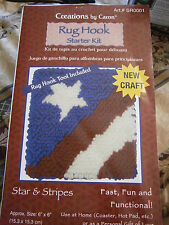 "Starter Kit Star & Stripes Latch Hook Kit Caron 6""x6"" Tool Included Flag USA"