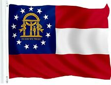 G128 State of Georgia Flag 3'x5' Banner Super Polyester 150D Brass Grommets