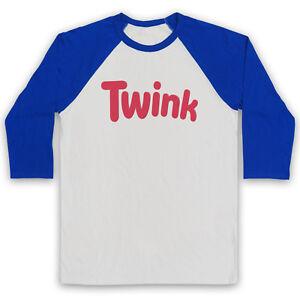 TWINK TWINKIE LOGO PARODY GAY HUMOUR LGBT RIGHTS PRIDE UNISEX 3/4 BASEBALL TEE