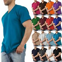 Men V-Neck Short Sleeve T-Shirts Heavy Tee Casual Solid Colors Comfort Gym