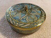 Vintage DAHLER TURQUOISE GOLD TONE TIN MADE IN ENGLAND Beautiful Detail