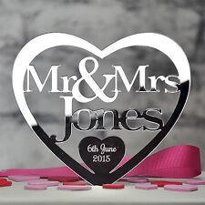 Personalised Wedding Mr & Mrs Heart Cake Topper Keepsake in Mirror Acrylic