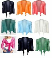 JUSTYOUROUTFIT Women's Knotted Tie-Up Shrug knit cardigan One size Fits UK 8-12